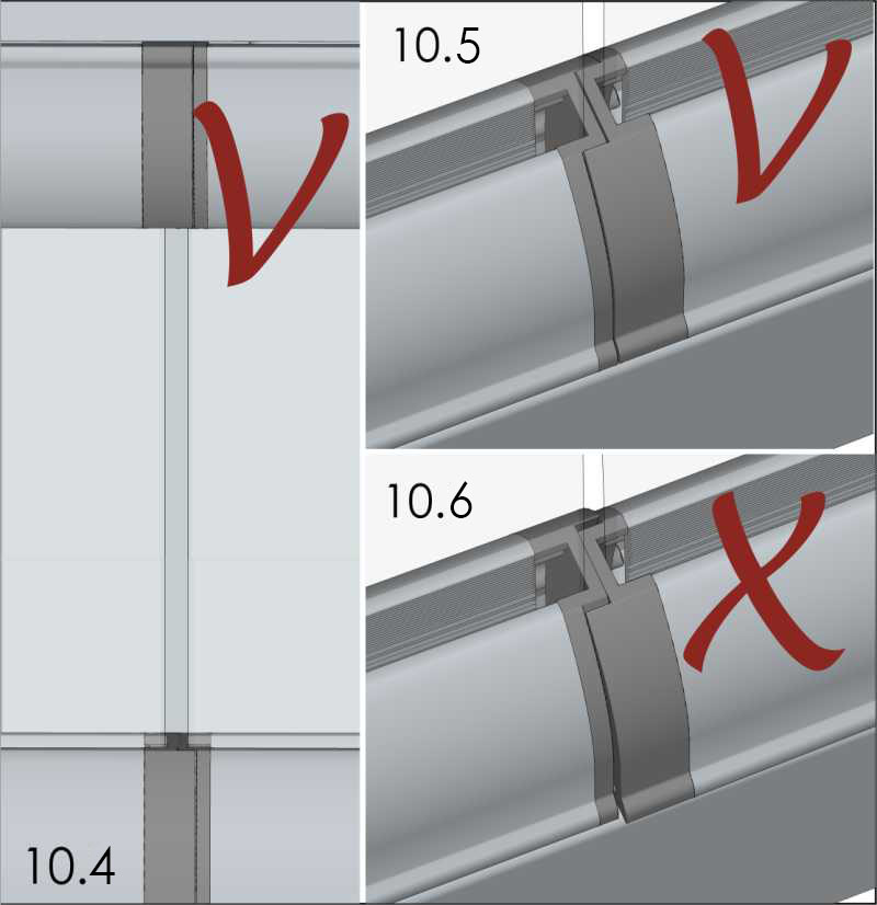 distance between glass edges